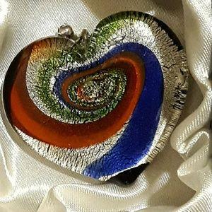 Multicolor Swirl Glass Heart Pendant